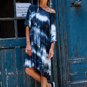 Women's round neck tie dye baggy dress
