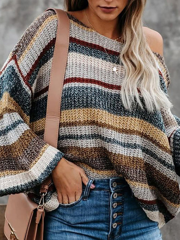 Women'S Casual  Color Striped Long Sleeve Loose Round Neck Pullover Knit Sweater