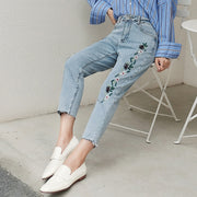 Women'S Fashion Flower Embroidered Loose Harem Pants