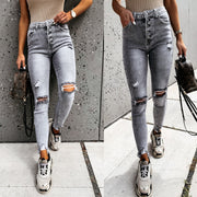Women'S Street Temperament Trousers Ripped Slim Fit Jeans