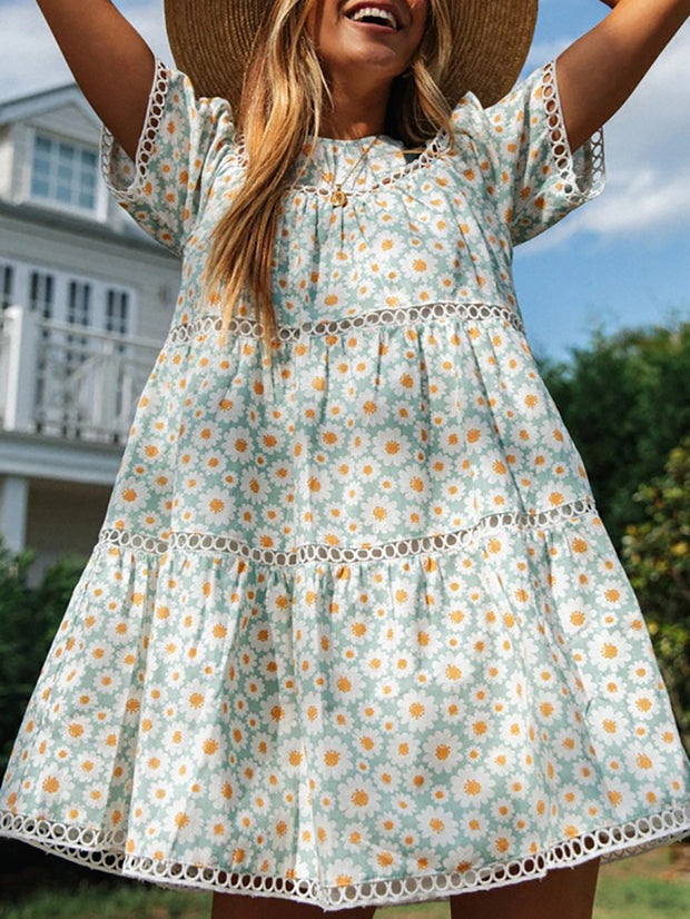 Women'S Fashion Printed Round Neck Lace Stitching Big Dress
