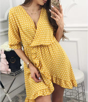 Women'S Fashion Sexy V-Neck Ruffle Dress
