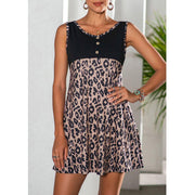 Women'S Fashion Leopard Print Stitching Sleeveless Dress