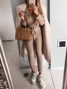 Women'S Fashion Solid Color Knitted Two-Piece Suit