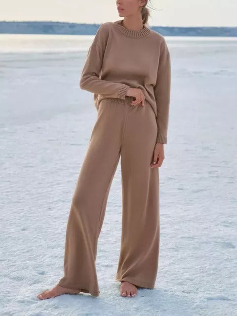 Women'S Simple Casual Loose Long-Sleeved Top Pants Comfortable Knitted Suit
