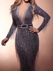 Silver Patchwork Tassel Sequin Deep V-neck Mermaid Sparkly NYE Banquet Birthday Party Maxi Dress