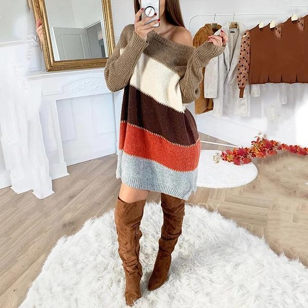 FASHION ROUND NECK PULLOVER MULTICOLOR PANELED SWEATER DRESS
