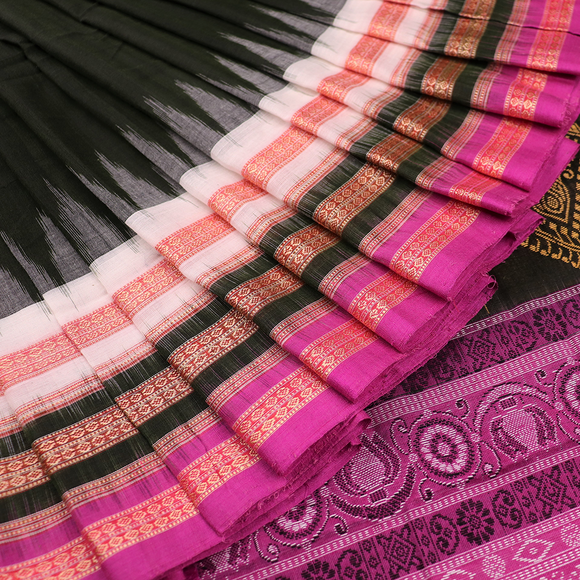 Handloom Bomkai Cotton Ikat Saree