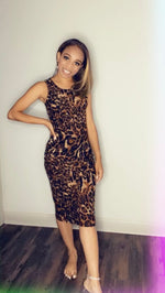 Load image into Gallery viewer, Cheetah Print Bodycon Dress