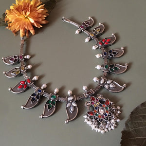 Reversible Peacock necklace Style 1