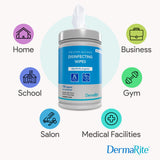 DermaRite Hand Sanitizing & Disinfecting Wipes 75% Alcohol - Pre Moistened Cleansing Cloths - Easy Dispense Canister
