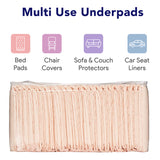 "Premium Disposable Chucks Underpads, 30"" x 36"" - Highly Absorbent Bed Pads for Incontinence and Senior Care - Peach Color - Leak Proof Protection"