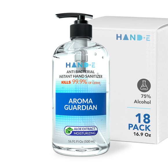 Hand-E Bulk Hand Sanitizer Gel Pump - 18 Pack Case, 16 oz Large Pump Bottle - 75% Ethyl Alcohol Based Instant Sanitizing Gel With Moisturizing Aloe - Kills 99.9% of Germs