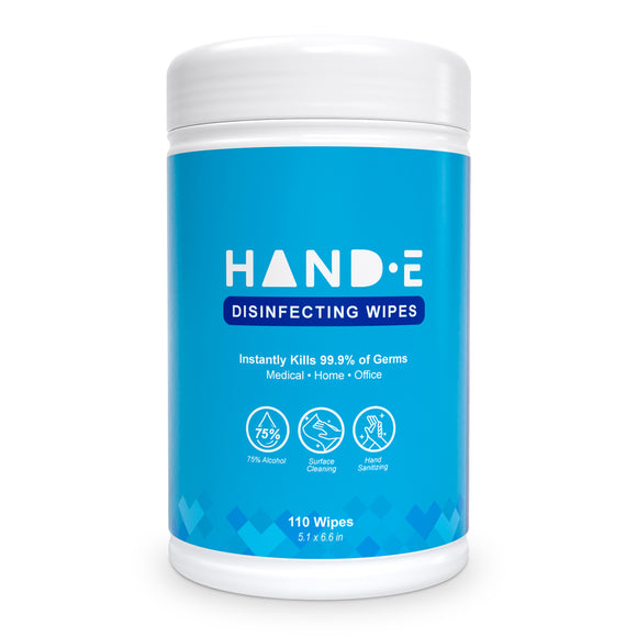 Hand-E Hand Sanitizing Wipes - 110 Wipes - Large Pre Moistened Cleansing Cloths - Canister Dispenser