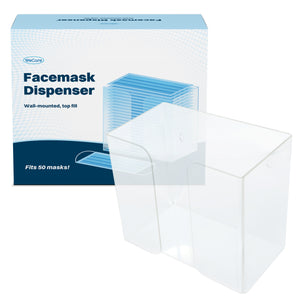 "Wecare Universal Face Mask Dispenser - Clear Acrylic Mask Holder - Wall Mounted or Freestanding - Fits 50+ Adult or Kids Masks - 7.5"" H x  8.5"" W x 4.9"" D"