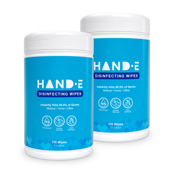 Hand-E Hand Sanitizing Wipes - 220 Wipes - Large Pre Moistened Cleansing Cloths - 2 Packs of 110 - Canister Dispenser