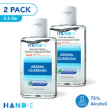 Hand-E Mini Hand Sanitizer Gel - 2 Pack, 3.2 Ounce Travel Hand Sanitizer - 75% Ethyl Alcohol Based Instant Sanitizing Gel With Moisturizing Aloe - Kills 99.9% of Germs - Rinse Free