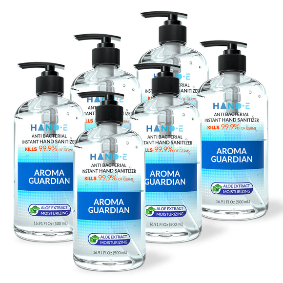 Hand-E Hand Sanitizer Gel Pump - 6 Pack, 16 oz Large Pump Bottle - 75% Ethyl Alcohol Based Instant Sanitizing Gel With Moisturizing Aloe - Kills 99.9% of Germs - Rinse Free