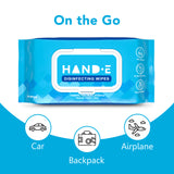 Hand-E Hand Sanitizing Wipes - 50 Wipes - Large Pre Moistened Cleansing Cloths - Soft Pack Dispenser