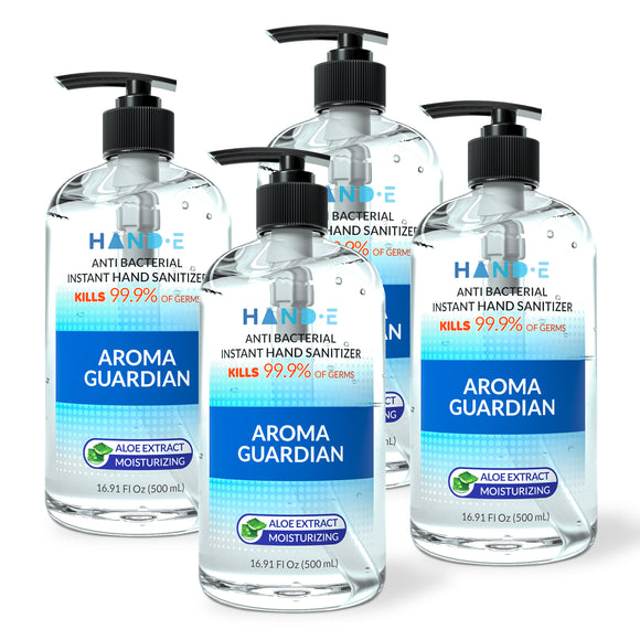 Hand-E Hand Sanitizer Gel Pump - 4 Pack, 16 oz Large Pump Bottle - 75% Ethyl Alcohol Based Instant Sanitizing Gel With Moisturizing Aloe - Kills 99.9% of Germs - Rinse Free