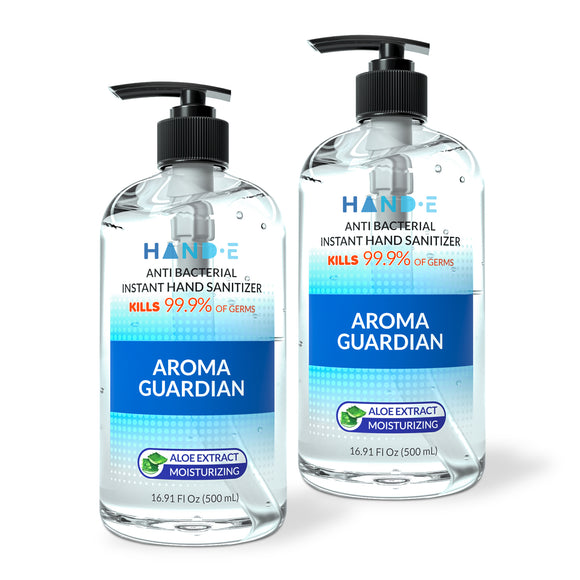 Hand-E Hand Sanitizer Gel Pump - 2 Pack, 16 oz Large Pump Bottle - 75% Ethyl Alcohol Based Instant Sanitizing Gel With Moisturizing Aloe - Kills 99.9% of Germs - Rinse Free