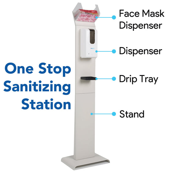 Hand-E Automatic Hand Sanitizer Dispenser Stand with Face Mask Dispenser
