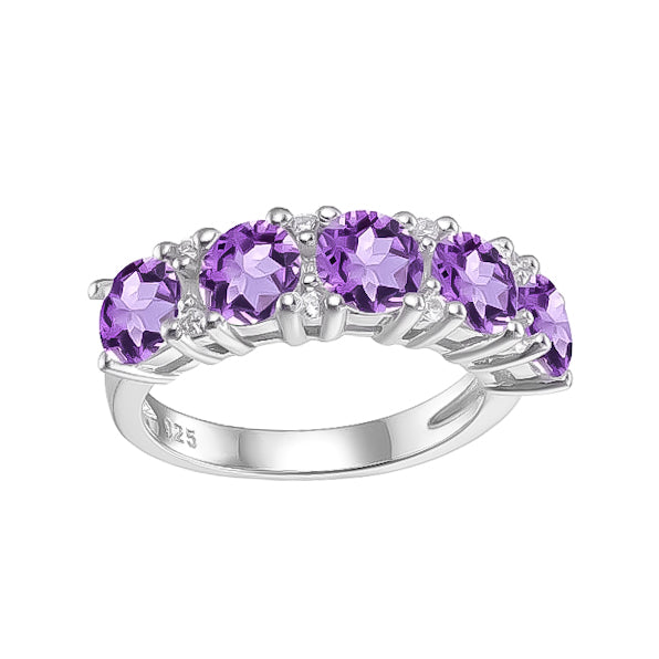 Spirits Unearth Silver Amethyst and Zirconia Ring