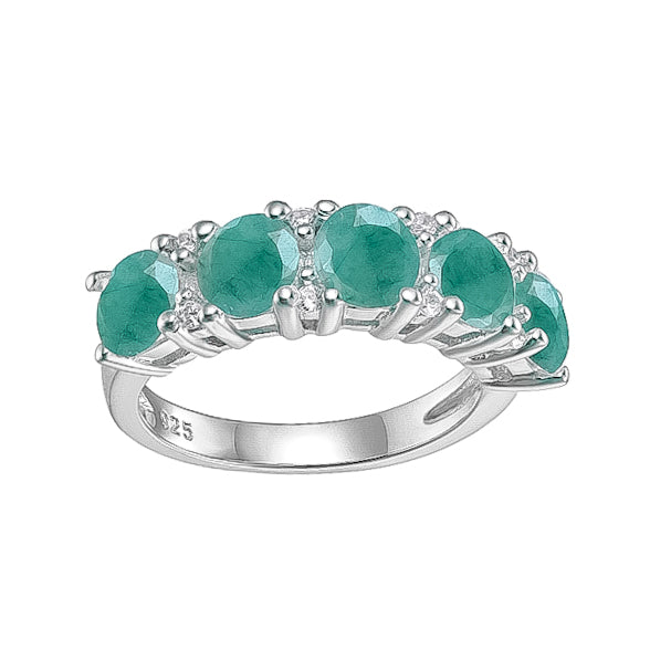 Spirits Unearth Silver Emerald and Zirconia Ring