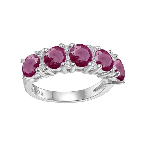 Spirits Unearth Silver Ruby and Zirconia Ring