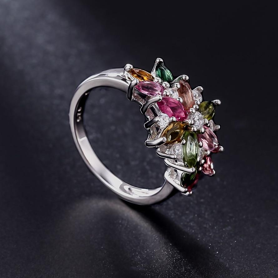 Spirits Unearth Silver Tourmaline and Zircon Ring