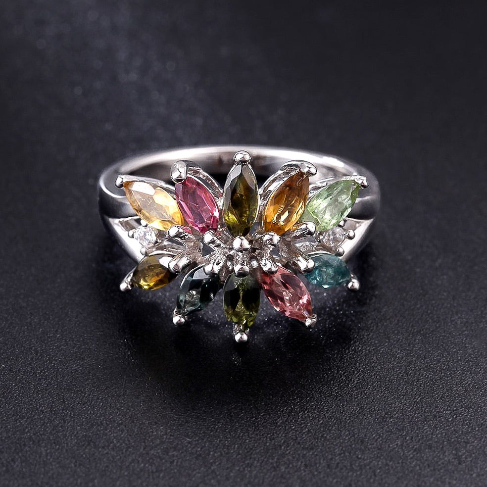 Spirits Unearth Silver Tourmaline and Zirconia Ring