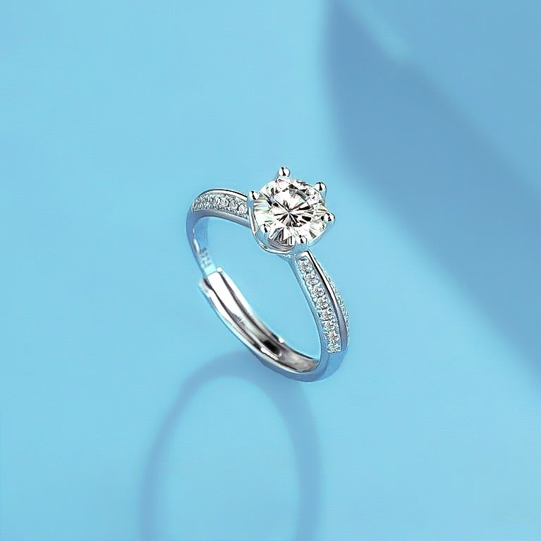 Spirits Unearth Silver Moissanite Diamond and Zirconia Ring