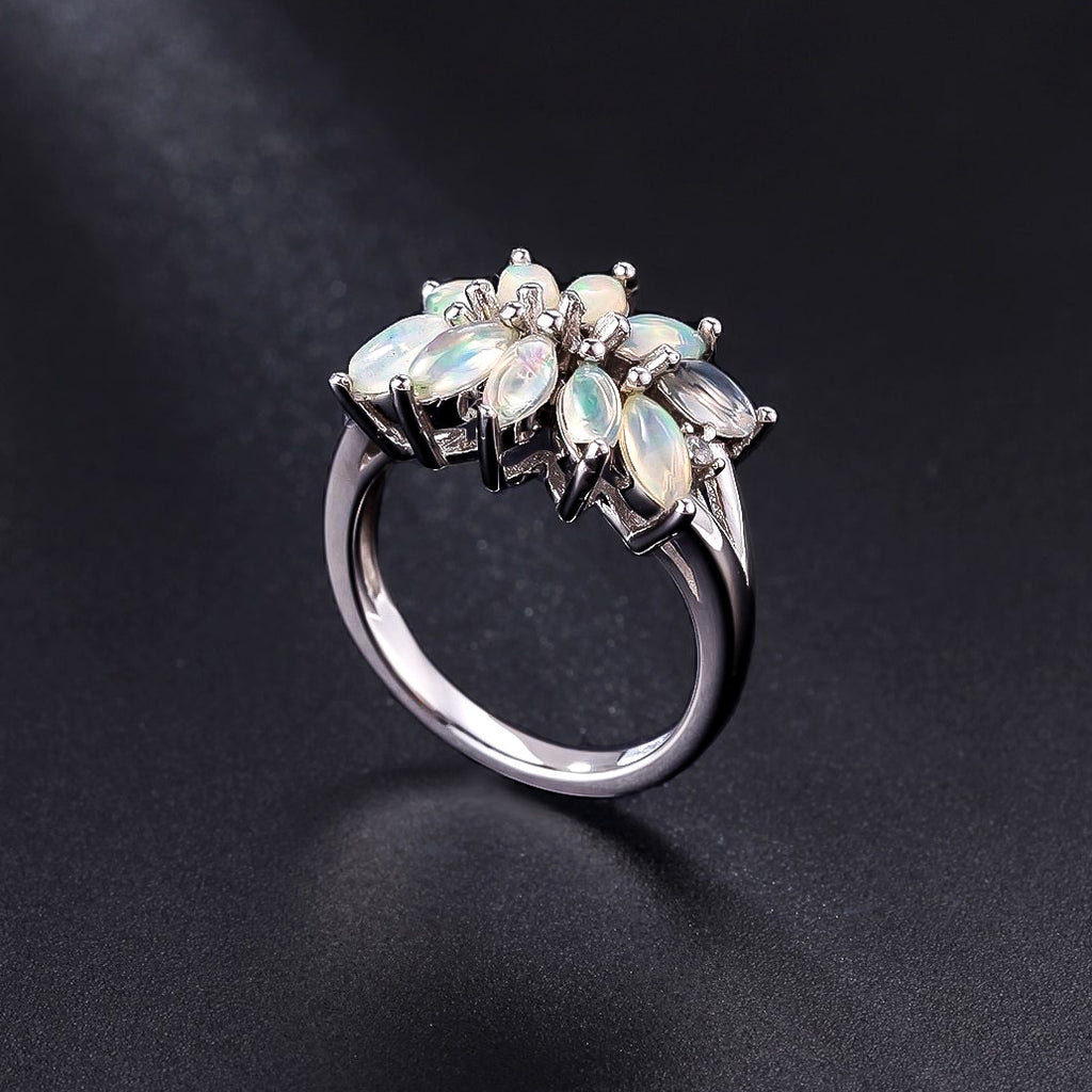 Spirits Unearth Silver Ethiopian Opal and Zirconia Ring