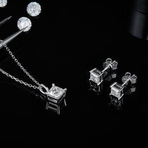 Spirits Unearth Silver Moissanite Diamond Earrings and Necklace