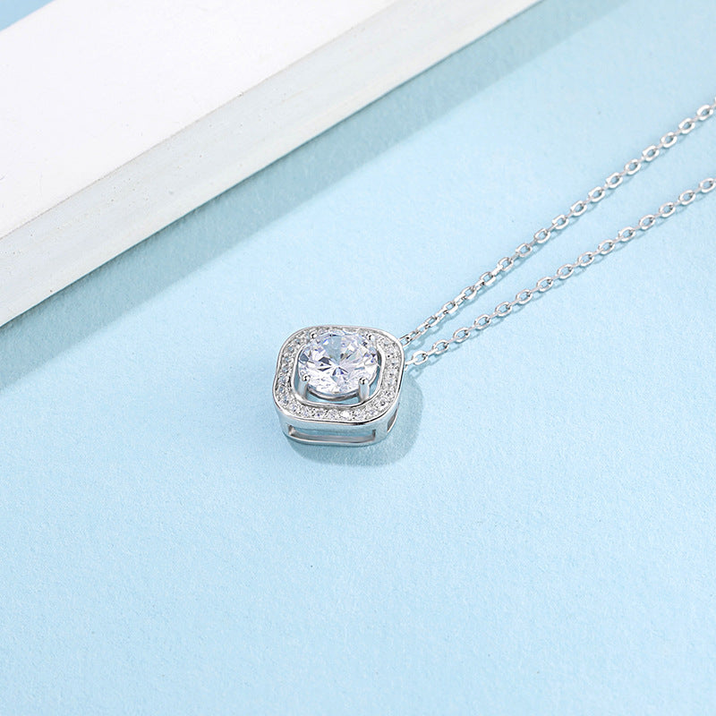 Spirits Unearth Silver Moissanite Diamond and Zirconia Necklace