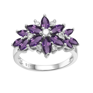 Spirits Unearth Silver Amethyst and Zircon Ring