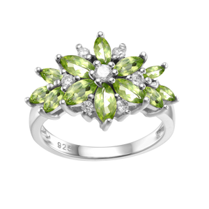 Spirits Unearth Silver Peridot and Zircon Ring