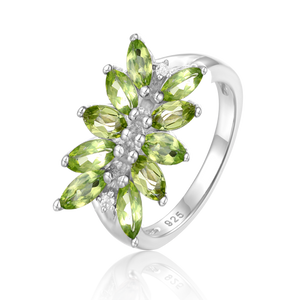Spirits Unearth Silver Peridot and Zirconia Ring