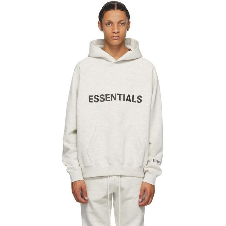Fear of God Essentials 3D Silicon Applique Pullover Hoodie Grey - HypeMarket