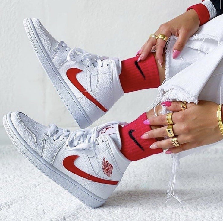 Nike Air Jordan 1 Mid Womens 'White University Red' - HypeMarket