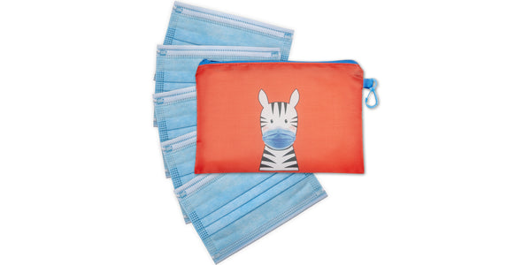 Kid's Masks & Storage Pouch -Zebra