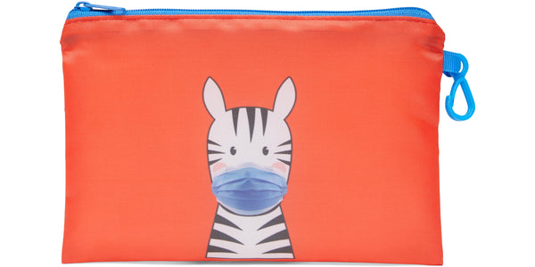 Kid's Masks & Storage Pouch -Zebra - Zebra (blue masks) -