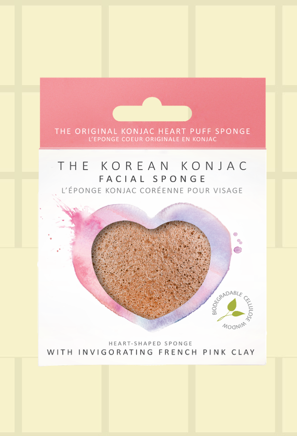 Konjac Heart Sponge - Pink French Clay