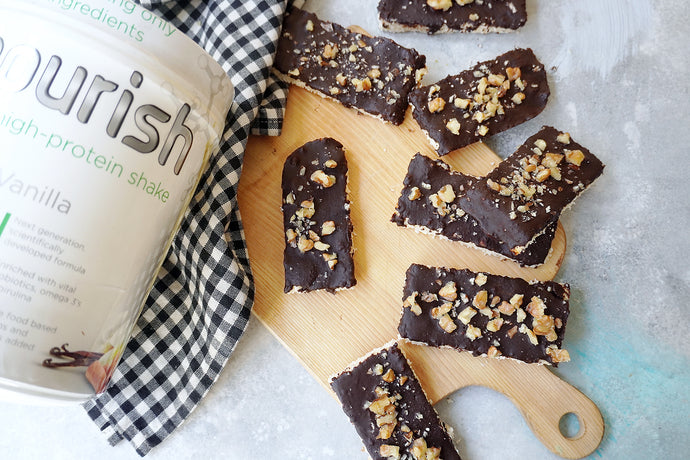 COCONUT PROTEIN BARS WITH CHOCOLATE