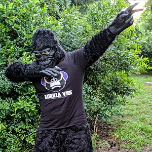 Co-founder of Funny Apparel for Animal Lovers Gorilla Vibe Albert in a Gorilla Suit