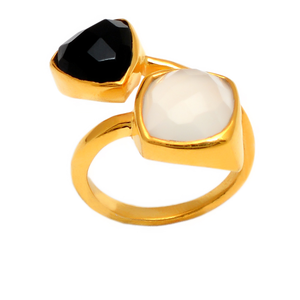 18kt Gold Vermeil Two Stone Black Onyx and Moonstone Ring