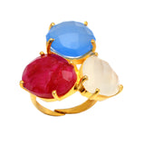 18kt Gold Vermeil Triple Stone Statement Ring