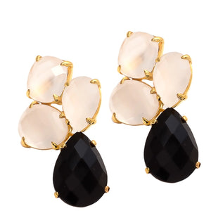 18kt Gold Vermeil Black Onyx and White Chalcedony Earring
