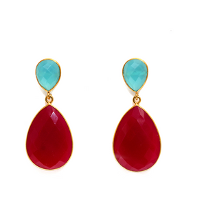 18kt Gold Vermeil Two Stone Statement Earring