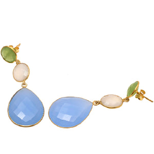 18kt Gold Vermeil Triple Stone Statement Earring